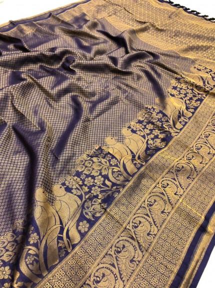 Blue Pure Banarasi Silk with Pure Gold Kasab Zari Yarn - gnp010048