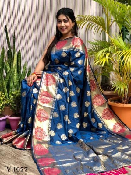 blue Soft Banarasi Silk woven saree