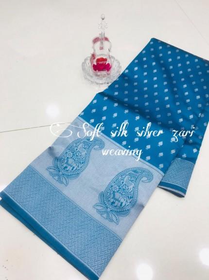 Blue Soft Banarasi Silver Weaving Silk Saree - gnp008689