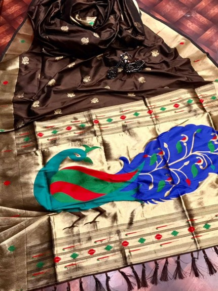 Brown silk saree for party