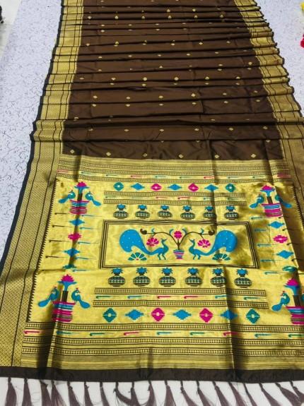 Grabandpack brown Paithani Silk Saree