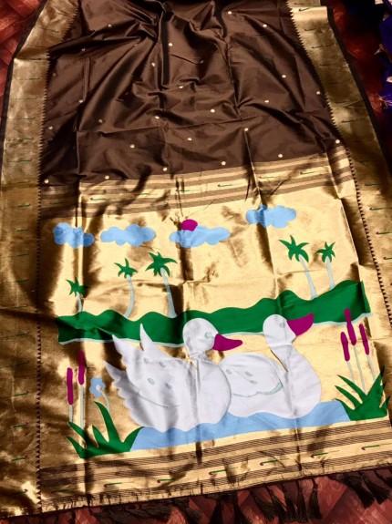 Brown Pethani Silk woven Saree
