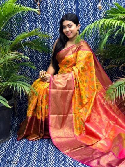 Designer Ikkat Weaving Silk Saree in Yellow grabandpack