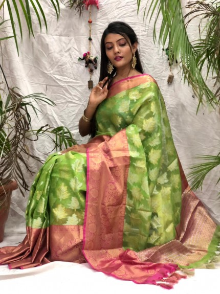 Exclusive Green kora muslin sarees online shopping