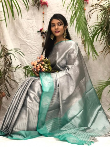 Exclusive Grey kora muslin sarees online shopping