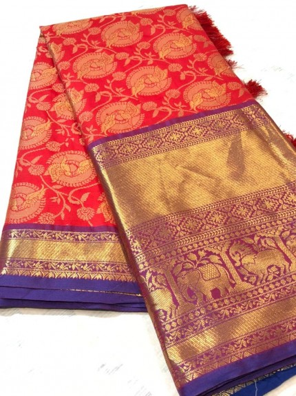 Exclusive Red Kanchipuram silk sarees