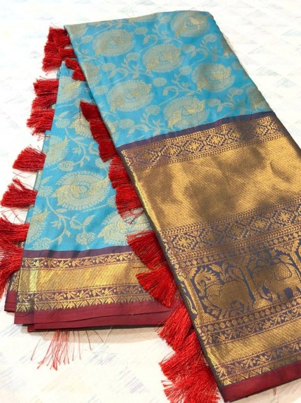 Sky Blue coloured soft silk saree