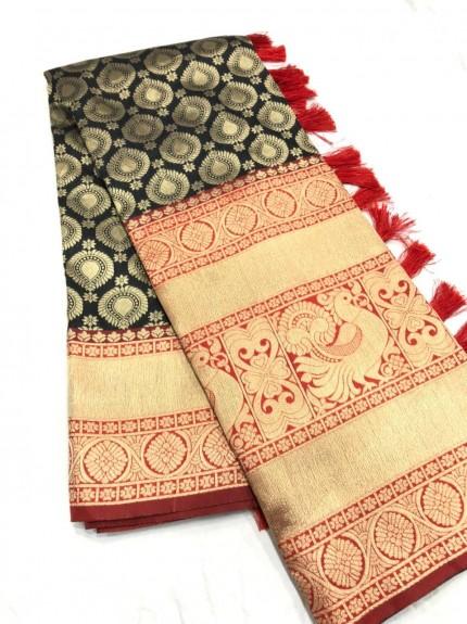 south india fashion latest Black silk sarees