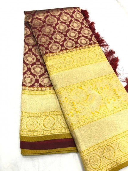 Brown Kanchipuram silk Traditional saree