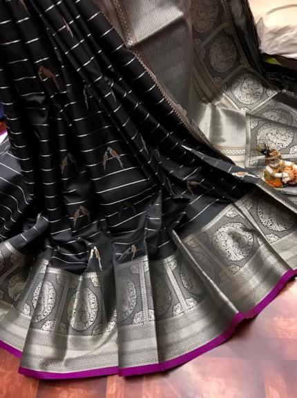women's Fancy Jacquard Royal Saree in Black