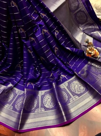 women's Fancy Jacquard Royal Saree in Blue