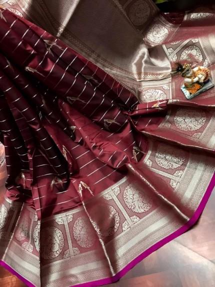women's Fancy Jacquard Royal Saree in Brown