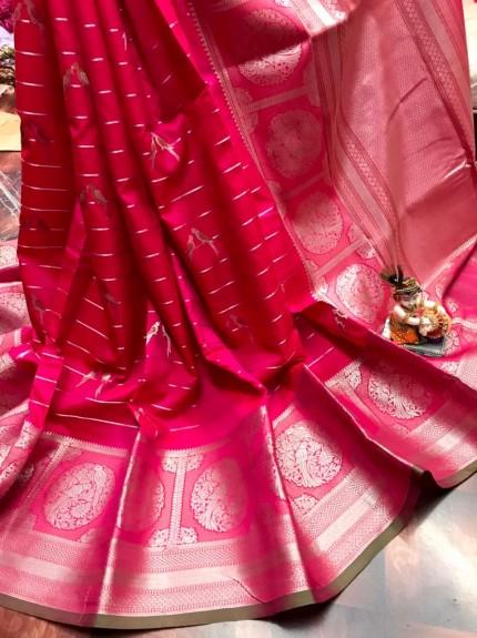 women's Fancy Jacquard Royal Saree in Pink