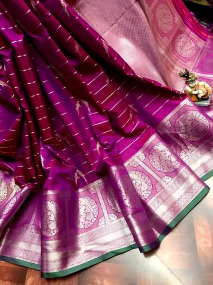 women's Fancy Jacquard Royal Saree in Purple