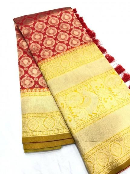 Fancy maroon Kanchipuram silk saree