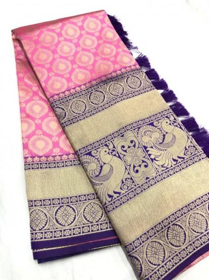 Pink Kanchipuram silk Traditional saree