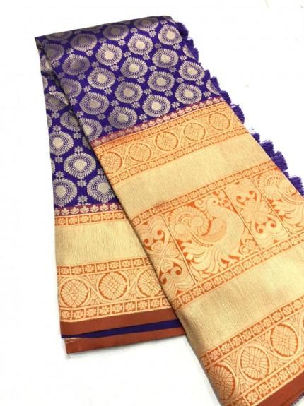 Purple Kanchipuram silk Traditional saree