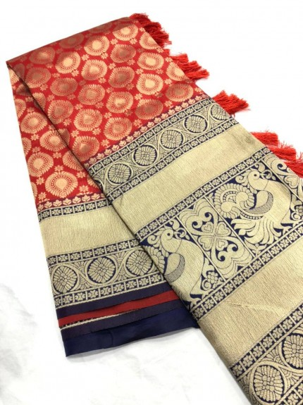 Fancy red Kanchipuram silk saree