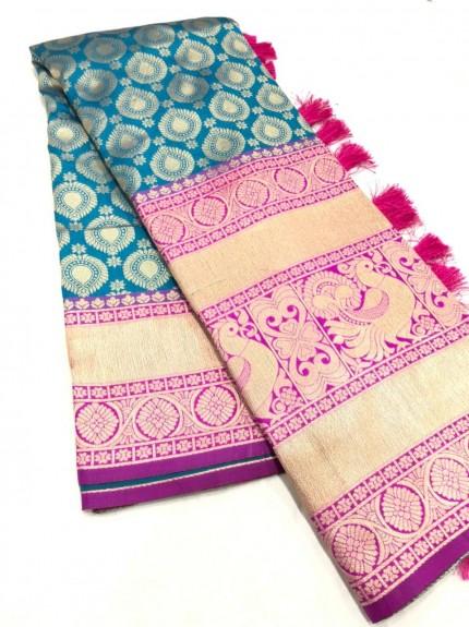 Sea Blue Kanchipuram silk saree