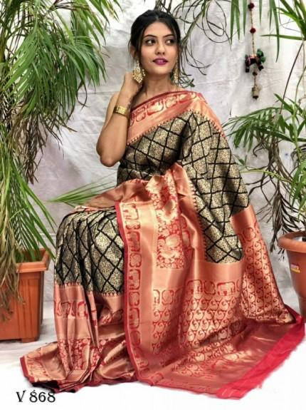 Gorgeous Banarasi Art Silk saree in black
