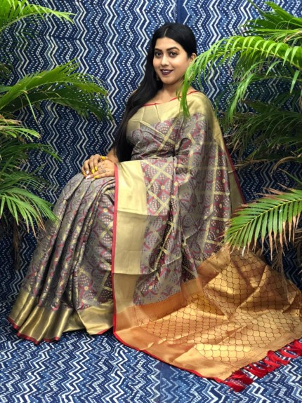 Grey Silk Blend Woven Design Patola Saree GrabandPack