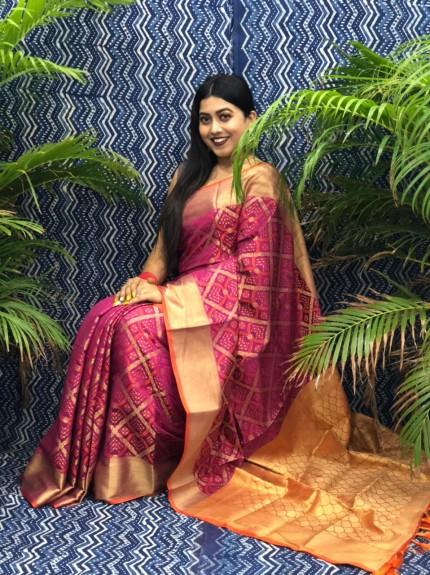 Maroon Silk Blend Woven Design Patola Saree GrabandPack