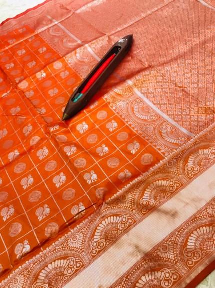 Graceful Orange Litchi Soft silk saree