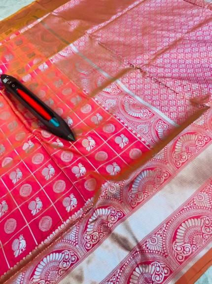 Graceful Peach Litchi Soft silk saree