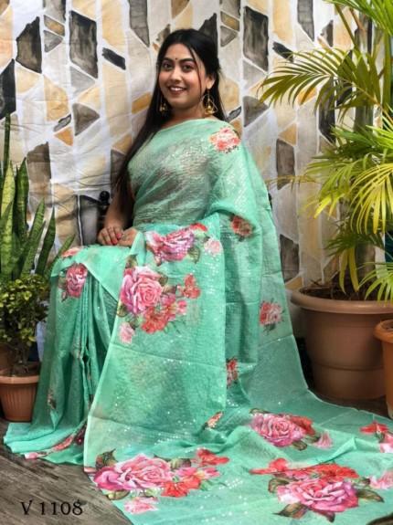 Green Flower Printed Pure Tebi Silk saree