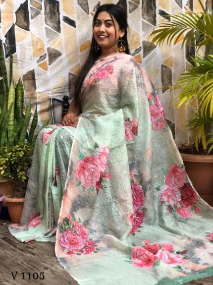 Light Green Flower Printed Pure Tebi Silk saree