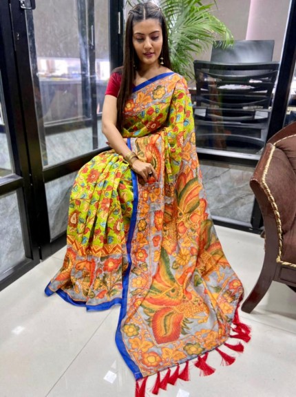Branded Linen saree by grabandpack
