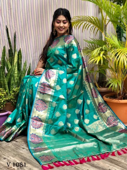 Green Soft Banarasi Silk woven saree