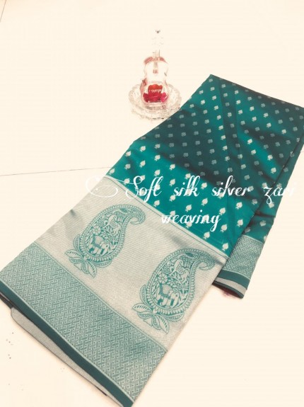 Green Soft Banarasi Silver Weaving Silk Saree - gnp008690