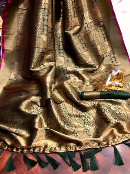 Green Super Soft Banarasi Silk Saree with Weaving All Over Gold Zari - gnp010115