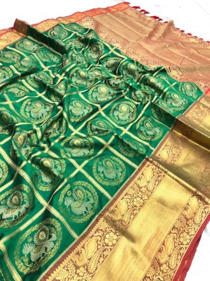 Kanchipuram silk sarees online shopping in Green