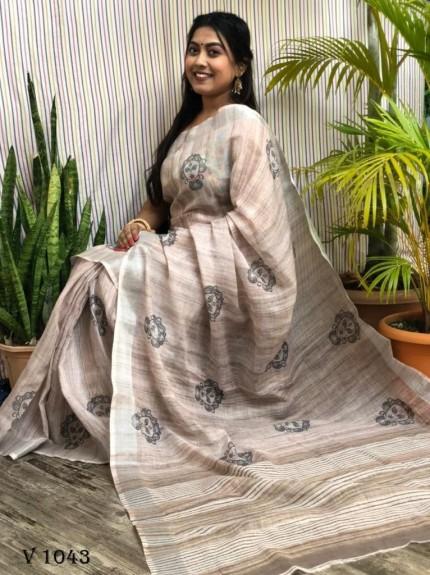Latest Trending Block Printed brown saree by grabandpack