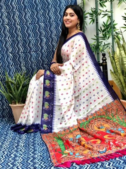 Linen Ikkat Printed Designer Saree