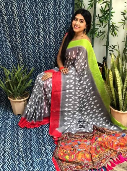 indian Linen Ikkat Printed Designer Saree