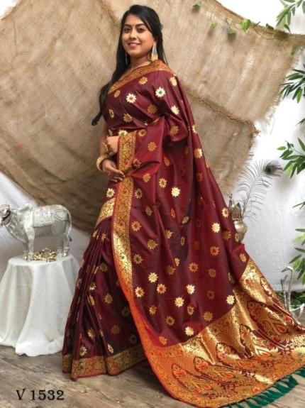 Maroon Soft Banarasi Silk Designer Wear Saree