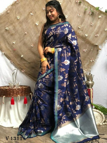 marriage Function special Blue Soft Silk saree grabandpack