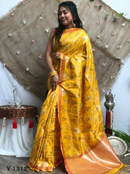 marriage Function special Yellow Soft Silk saree grabandpack