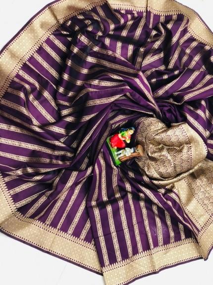 Soft Banarasi Silk Saree in Purple