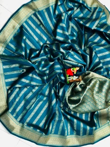 Soft Banarasi Silk Saree in Sea Blue