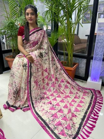 Multi Colored Printed Linen Silk Saree - gnp010043
