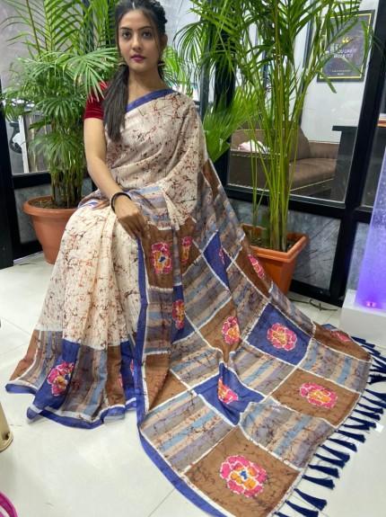 Multi Colored Printed Linen Silk Saree - gnp010044