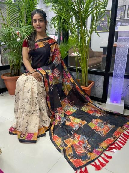 Multi Colored Printed Linen Silk Saree - gnp010046