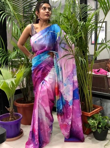 Multi Colored Spanish Digital Printed Pure Muslin Silk Saree - gnp010038