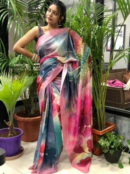Multi Colored Spanish Digital Printed Pure Muslin Silk Saree - gnp010040
