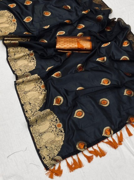 New design banarasi soft silk saree in Black