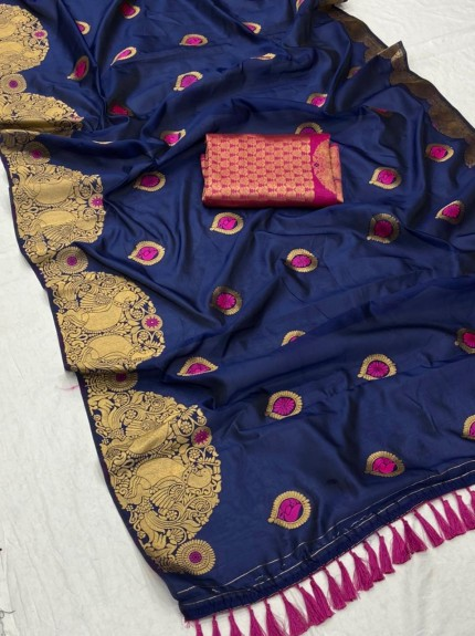 New design banarasi soft silk saree in Blue